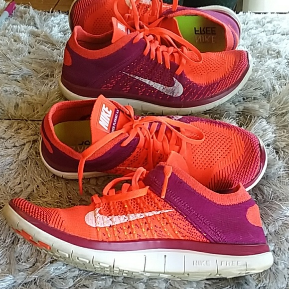 the latest 39130 87799 Nike Free Flyknit 4.0 Size 9 red purple w/ inserts